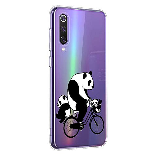 Oihxse Silicone Crystal Coque pour Xiaomi Mi 9T / Mi 9T Pro Ultra-Thin Transparente Gel TPU Souple Etui Design Motif Mignon Panda Protection Antichoc Housse Bumper (Panda A10)