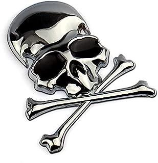 Helen-Box - Truck Label Emblem Badge Car Styling Decoration Accessories 7.2x6CM 3D Metal Skull Skeleton Crossbones Car Motorcycle Sticker