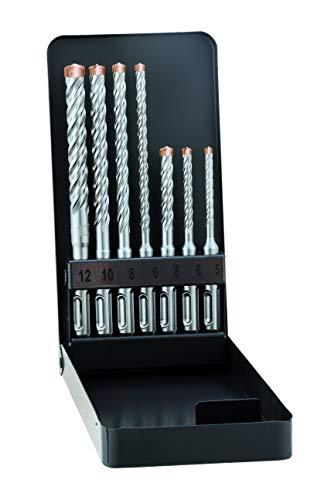 Alpen SDS-plus Hammerbohrerset FORCE X KM Metallkassette (7-TLG, 4 Schneiden, Ø 5.0-12.0mm), Silber
