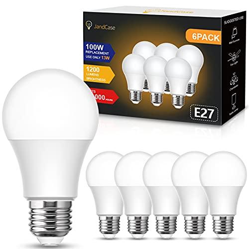 E27 LED calida, JandCase 13W E27 bombillas LED de rosca Edison, 1200 lúmenes, equivalente a 100W bombilla incandescente, 3000K blanco cálido, A60 bombilla ahorro de energía, no regulable, 6 Unidades