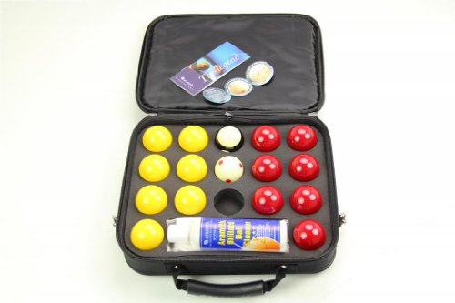 SUPER ARAMITH PRO CUP 2 Red & Yellow Pool Balls, Ball Cleaner & Case Set! by Aramith