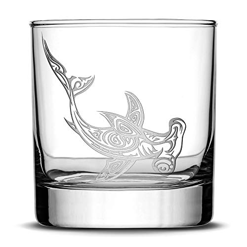 Integrity Bottles Premium Hammerhead Shark Whiskey Glass, Hand Etched Tribal Design, 11oz Rocks Glass, Highball Gifts, Made in USA, Sand Carved