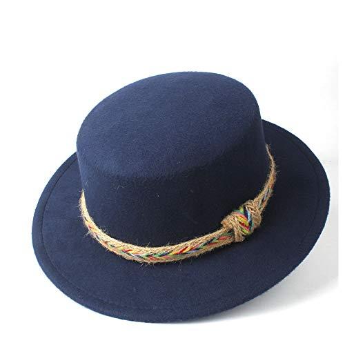 LHZUS Sombreros Hombres Mujeres Sombrero de Copa Plana con cinturón Sombrero de ala Ancha de Invierno Sombrero de fascinación de Viaje al Aire Libre Sombrero de Iglesia Tamaño 56-58 cm