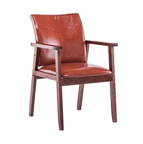 JINHUADAI Restaurantstühle und komfortabel;Nussbaum Handlauf Rückenpolster PU-Leder wasserdicht Café robust Wohnzimmer 150kg- Last 54 cm 54cm; ??87cm braun