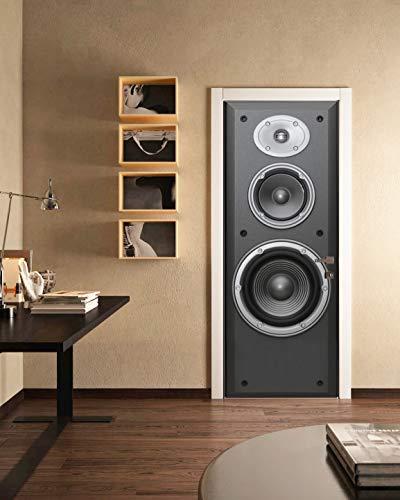 FLFK 3D Großer Lautsprecher Türtapete Wandbilder Selbstklebend Tür Poster Vinyl Entfernbar Mauer Aufkleber Zuhause Dekor 30.3Zoll x78.7 Zoll