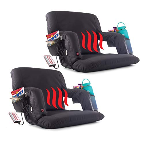 POP Design The Original Hot Seat Heated Stadium Bleacher Seat Reclining Back and Arm Support Thick Cushion 4 Storage Pockets Plus Cup Holder Battery Pack not Included 2 Pack