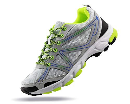 JABASIC Men Outdoor Hiking Shoes Trail Running Sports Sneakers(9,LT.Grey)