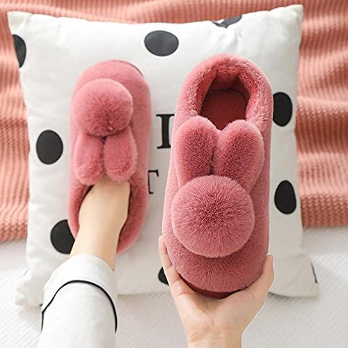 Zapatillas De Casa para Mujer Primavera,Bolso De Suela Gruesa con Zapatillas De AlgodóN, OtoñO E Invierno Femeninos Amantes De Los Conejos Tridimensionales PVC Antideslizante Calidez De Dibujos Anima