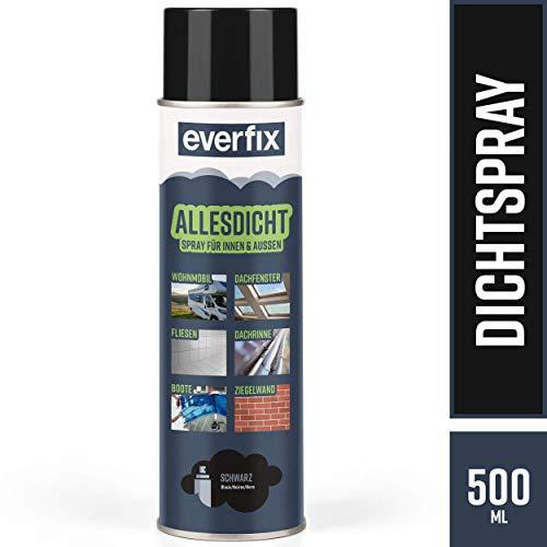 EVERFIX Allesdicht Spray, Dichtspray, Flüssigkunststoff, flüssiger Kunststoff zur Abdichtung, 500 ml, Schwarz