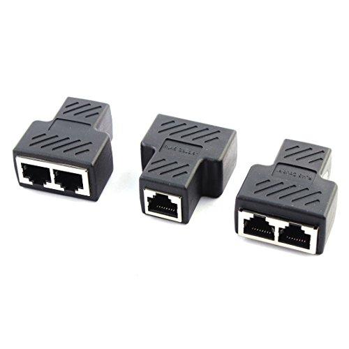 DealMux RJ45 1 a 2 Puertos Hembra a Hembra Red Ethernet Socket LAN Splitter Adapter 3 PCS