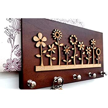 The Grandeur Modern Flower Key Holder with 5 Hooks, Brown in Color, Size of 25cm X 13cm