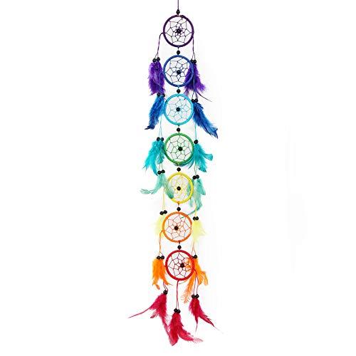 Pink Pineapple Dreamcatcher bunt mit Federn: Handgemachter Traumfänger - Regenbogen Multi Farbe - Lang Traumfanger Mit 6 cm Durchmesser und 50 cm Lang