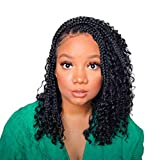 14 Inch 8 Packs Goddess Boho Box Braids Gypsy Bohemian Braids With Wavy Curly Ends Pre-looped Synthetic Crochet Hair For Black Women(14inch, 8packs, 1b)