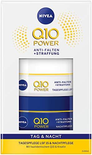 NIVEA Q10 Tages- und Nachtpflege Geschenkset, mit Q10 Power Anti-Falten + Straffung Tagespflege und Q10 Power Anti-Falten + Straffung Nachtpflege, Wellness Geschenk