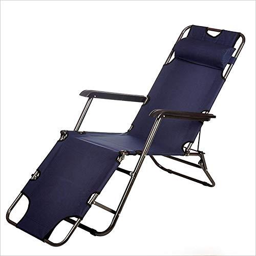 LZMXMYS Silla de salón al Aire Libre, Plegable chairDark sofá Azul Silla de Acero Inoxidable Azul sillón reclinable de Tela (Color : Dark Blue)