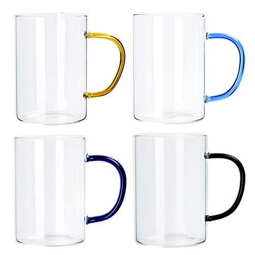 Juego de 6 tazas de café aisladas, tazas de café, té, café y café espresso, café y capuchino, vidrio cristal de borosilicato, 4 unidades
