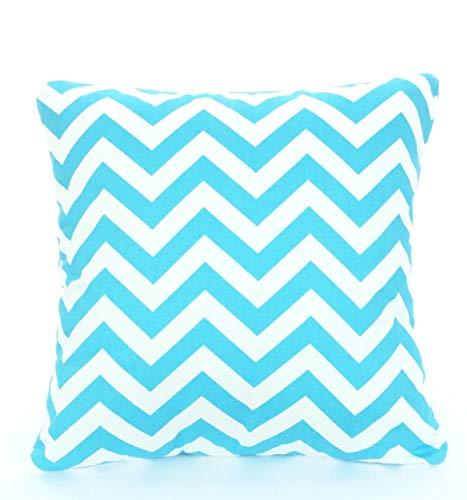 Aqua kussenslopen decoratief sierkussen kussen aqua wit zigzag bank bed sofa decokussen Girly Blue