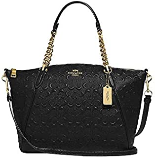 COACH SMALL KELSEY CHAIN SATCHEL IN SIGNATURE LEATHER - BLACK