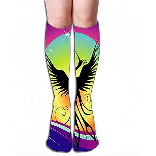 Mannen Vrouwen Outdoor Sport Hoge Sokken Voorraad phoenix vogel silhouet re geboorte Kleine Tegel lengte 19.7