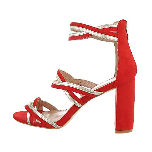 Ital Design Damenschuhe Sandalen & Sandaletten High-Heel Sandaletten, 134-, Kunstleder, Rot, Gr. 37