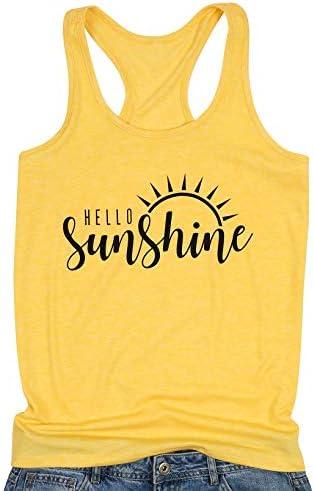 Hello Sunshine Women s Sleeveless Graphic Tank Tops Yellow Small product image