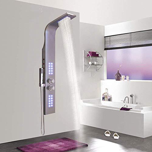 AUFUN Duschpaneel Edelstahl mit LED Thermostat 30° - 50° Duschsäule mit Massagedüsen Badarmatur Duscharmatur Regendusche Wasserfall 100 Rückendüsen aus Silikon