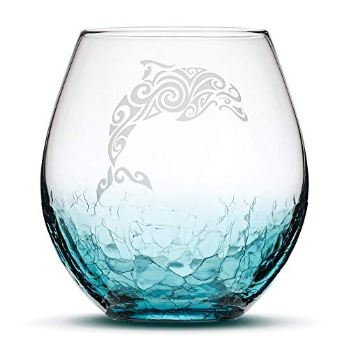 Integrity Bottles Crackle Teal Stemless Wine Glass - Hand Etched Tribal Dolphin Design - Sand Carved