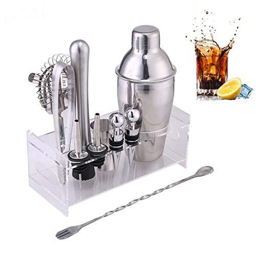 LTJX Juego de coctelera de coctelera, 11 piezas, kit de coctelera premium con colador, jigger, vertedor, tapón, pinzas de hielo, Muddler, tenedor de cuchara agitadora, 750 ml