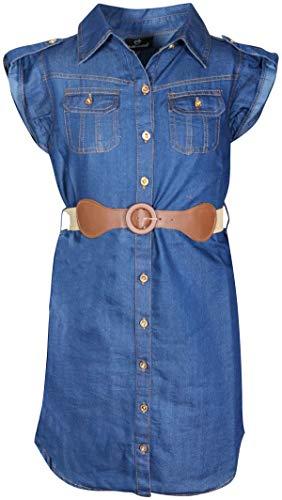 dollhouse Girls' Dress –Belted Cap Sleeve Boho Denim Peasant Dress (Little Girl/Big Girl) (14/16, Dark Button Down)