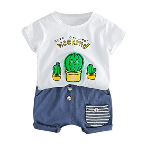 Hui.Hui Ensemble de Nouveau-né Bébé Garçon Fille 2 Pièces Tenues Alphabet Imprimé Chemise Tops T-Shirt à Manches Courtes et Shorts Printemps Vêtements pour Enfants 6-24 Mois