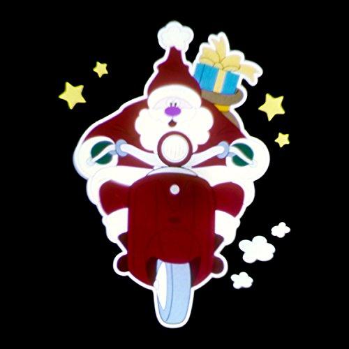 Kerstman op scooter, bewegingseffect, 3 foto's, 5 V, buiten
