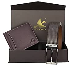 Hornbull Men's Brown Wallet and Belt Combo - Curiouskeeda
