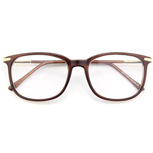 mächtig der welt CGIDCN79 Classic Geek Brille Ovale 40er 50er Jahre Vintage Punt Brille Klare Linse Braun