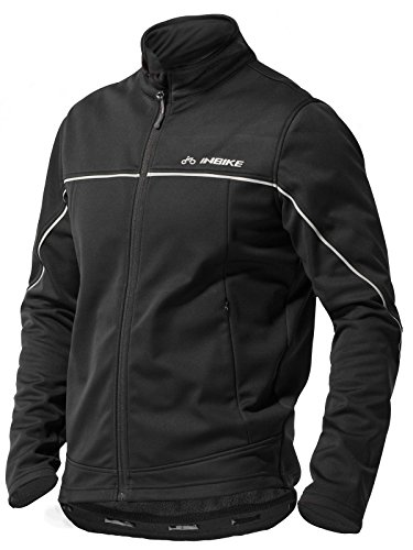 INBIKE Men's Cycling Jacket, Winter Fleece Thermal Windproof Soft Shell Wind Coat Black Medium