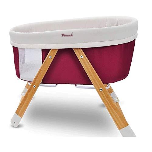 Bedside Crib Opvouwbare Portable Bed Shaker mee te nemen Perspectief Network driehoekige stabiele Wood corrosiebestendige Net beschikbaar Verwisselbare Bed (Color : Red)