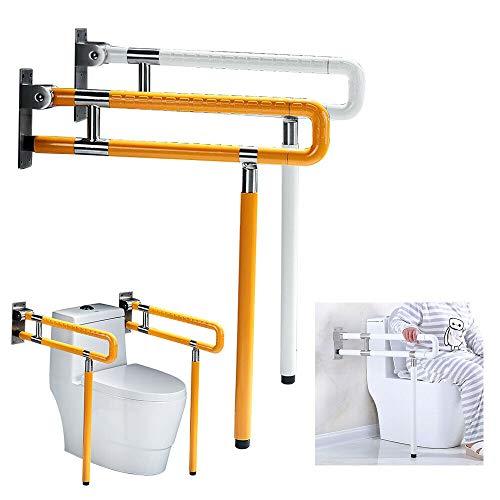 RANZIX klappbare WC & Toiletten Aufstehhilfe - Stützgriff Sicherheits Haltegriff Stützklappgriff behindertengerecht Toiletten Stütz-Haltegriff hochklappbar robust & solide verarbeitet (Gelb, 750Mm)