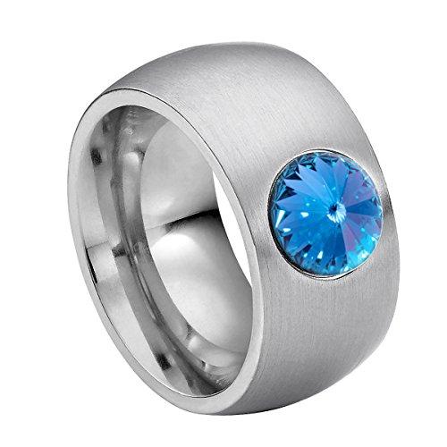 Anillo Heideman Ring Coma 11 de acero inoxidable color plata mate para damas con cristalblanco / color fantasía tallado en piedra preciosa de 8mm