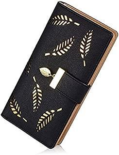 Elios Women's Long Leaf Pattern Bifold Card Phone Holder Purse Zipper Buckle Elegant Clutch Wallet