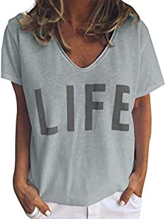 Lotus.Flower Womens Casual Short Sleeve V Neck Letter Life Printed T Shirt Tops Blouse