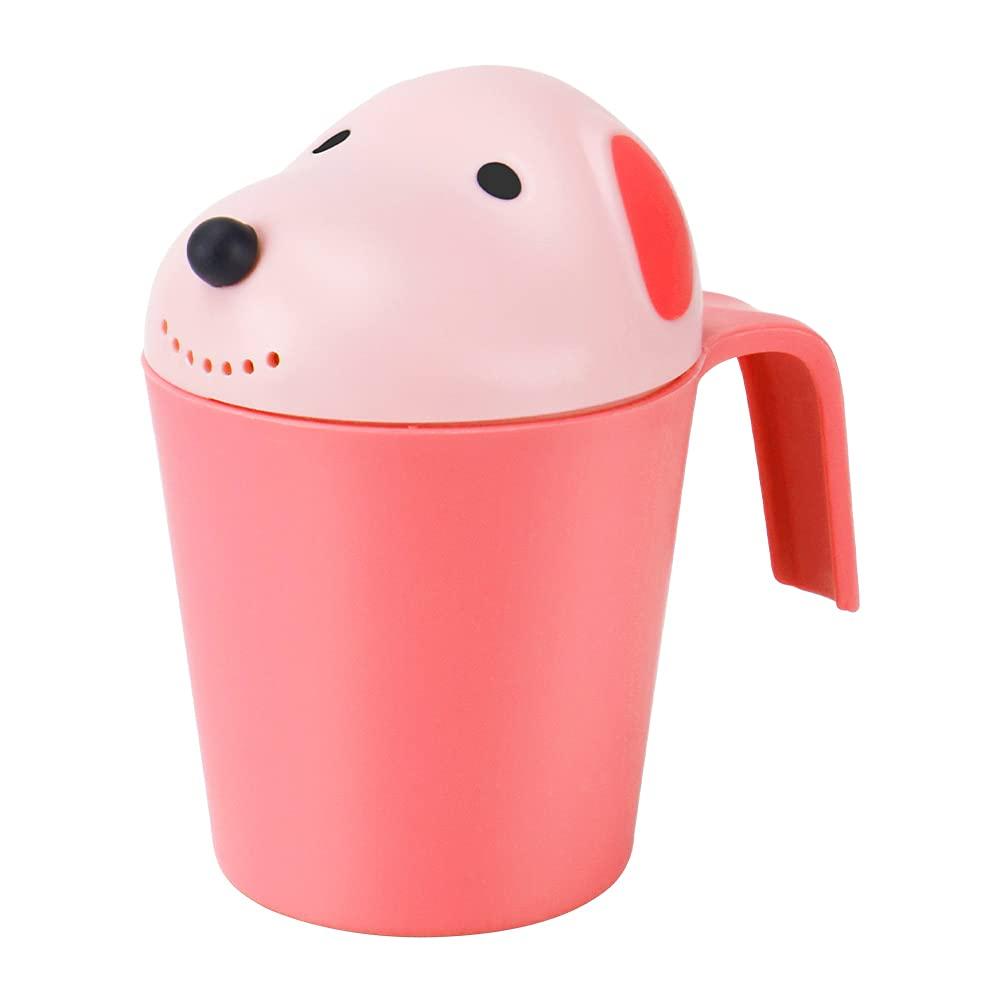UNAOIWN Baby Bath Waterfall Rinser Kids Shampoo Rinse Cup Newborn Bath Shower Washing Head (Pink)