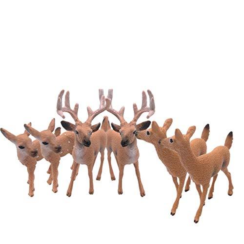 Dengeng Set von 6 Weihnachts-Reh Figuren für Weihnachtsdekoration, Hirsch-Spielzeug