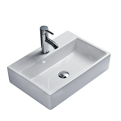 Gimify Keramik Waschtisch Waschschale Aufsatzwaschbecken eckig für Badezimmer