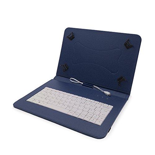 Hülle inkl. Deutscher QWERTZ Tastatur für Samsung Galaxy Tab A 10.1 (2016) mit Standfunktion in BLAU [passend für Modell SM-T580, SM-T585]