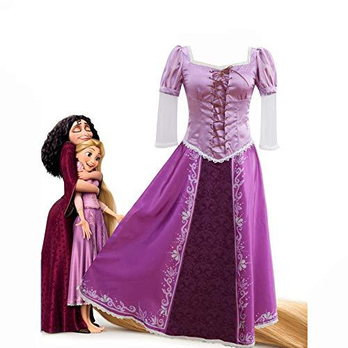 Cosplay Costume, Anime Tangled Rapunzel Cosplay Kostüm Lila Satin + Baumwolle Magie Prinzessin Kleid Kreuz Lace Design, Damen Besondere Anlässe Und Verkleiden,Lila,M