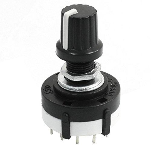 TOOGOO 3P4T 3 Polos 4 Posiciones Interruptor giratorio selector de banda de oblea simple con perilla
