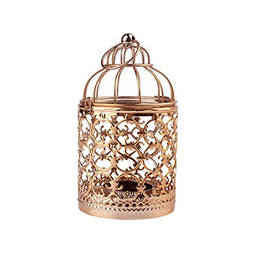 Shiwaki - Linterna Colgante de Jaula para pájaros de Metal Dorado Rosa, centros de Mesa Decorativos Vintage de Bodas y Fiestas, candelabros para Festivales, decoración del hogar