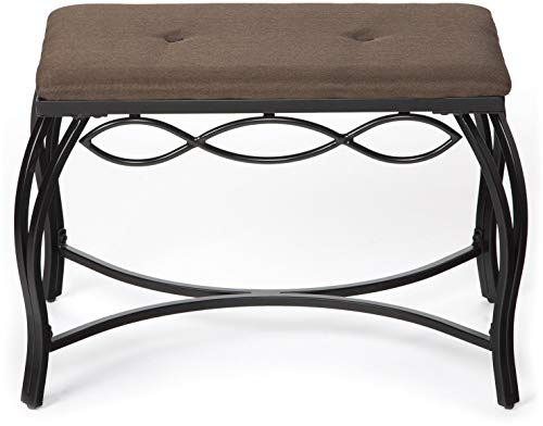 Mango Steam Bristol Shoe Bench - Mocha Brown - Texture Woven Fabric Top and Durable Steel Legs