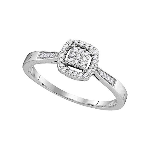 Anillo de compromiso de oro blanco de 10 quilates para mujer con diamantes redondos de 1/8 quilates (claridad I2-I3; color I-J)