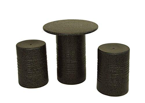 テーブルセット 黒スパタテーブルセット3点 14号 ガーデンテーブル アウトドア 信楽焼 陶器