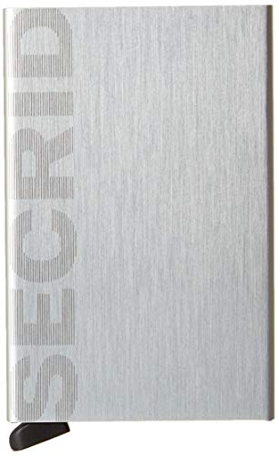 Secrid Card Protector Laser Logo, Very Slim Credit Card Holder Wallet with RFID protection - Brushed Silver